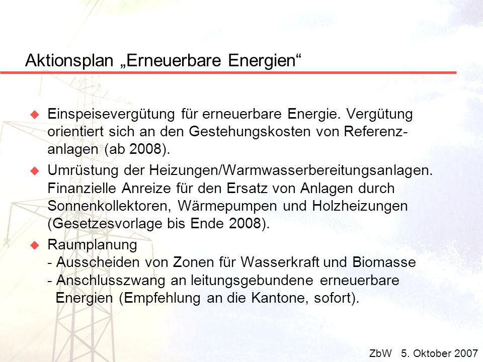 "Aktionsplan ""Erneuerbare Energien"