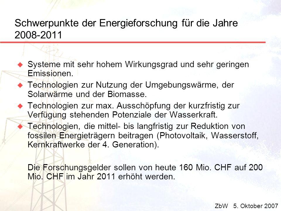 Schwerpunkte der Energieforschung für die Jahre 2008-2011