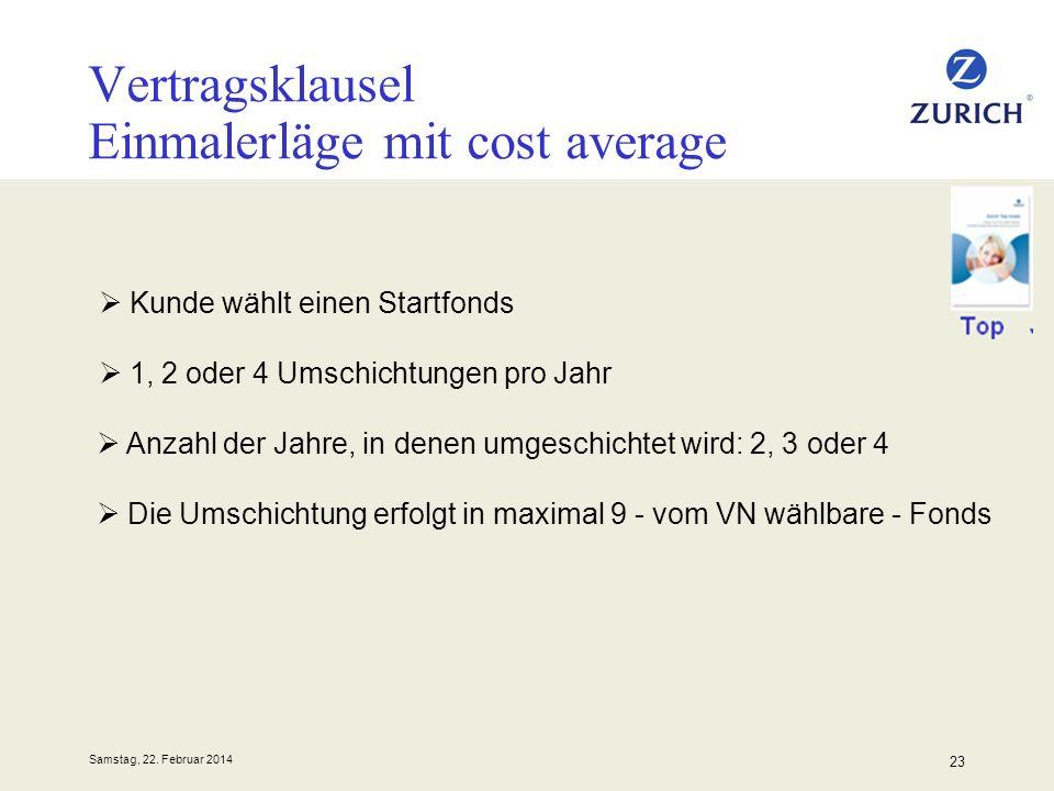 Vertragsklausel Einmalerläge mit cost average