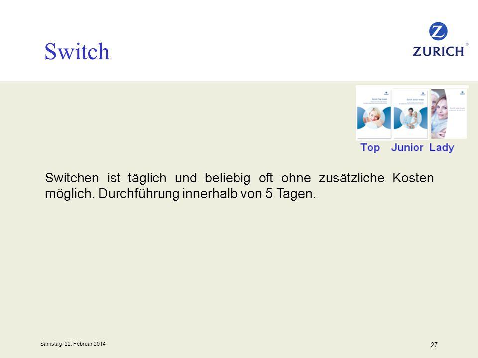 Switch Switchen ist täglich und beliebig oft ohne zusätzliche Kosten möglich. Durchführung innerhalb von 5 Tagen.