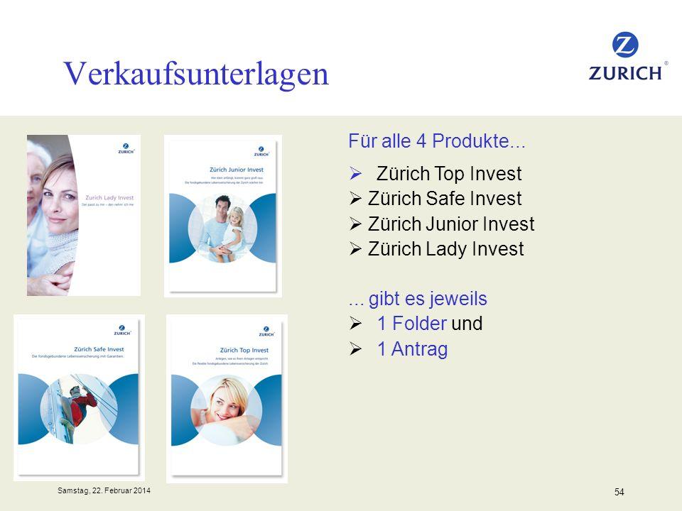 Verkaufsunterlagen Für alle 4 Produkte...  Zürich Top Invest