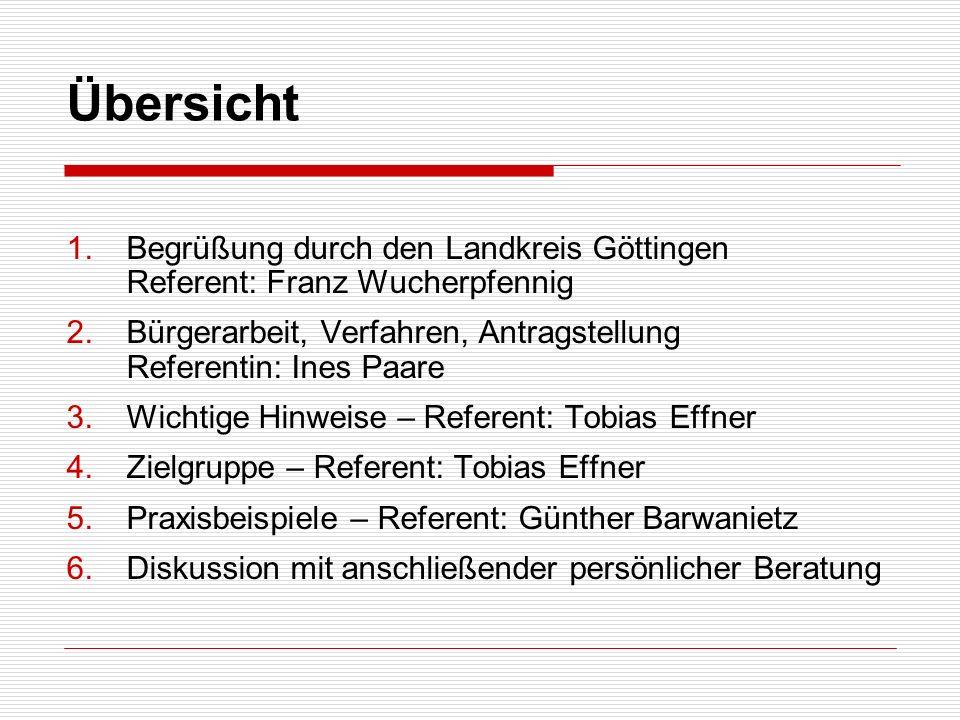 Übersicht Begrüßung durch den Landkreis Göttingen Referent: Franz Wucherpfennig.