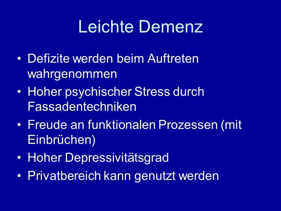 Leichte Demenz Defizite werden beim Auftreten wahrgenommen
