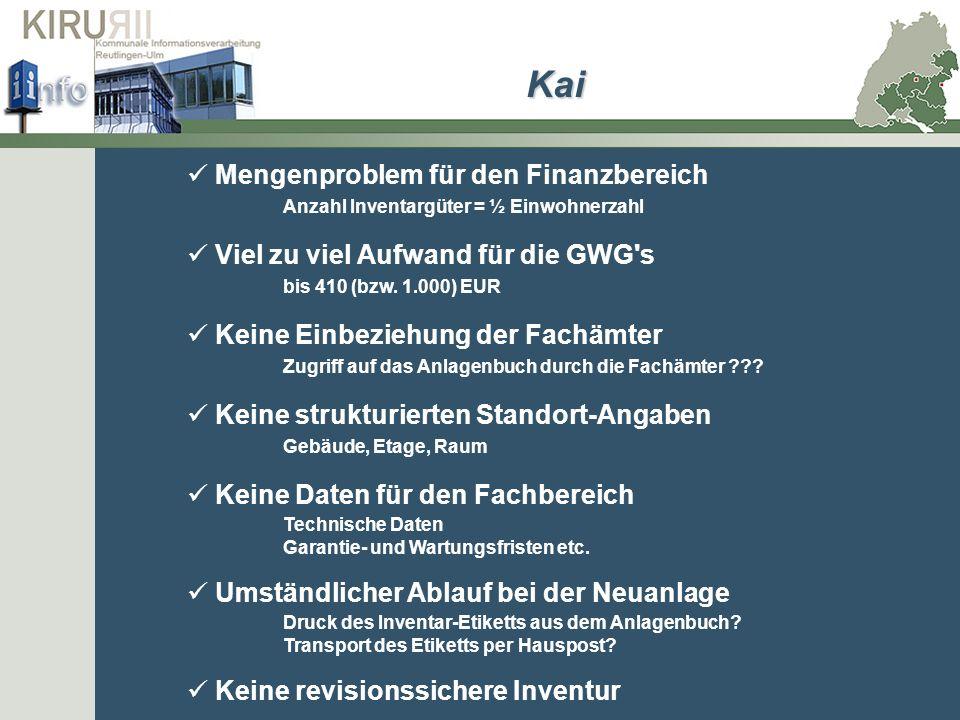 Kai Mengenproblem für den Finanzbereich Anzahl Inventargüter = ½ Einwohnerzahl. Viel zu viel Aufwand für die GWG s bis 410 (bzw. 1.000) EUR.