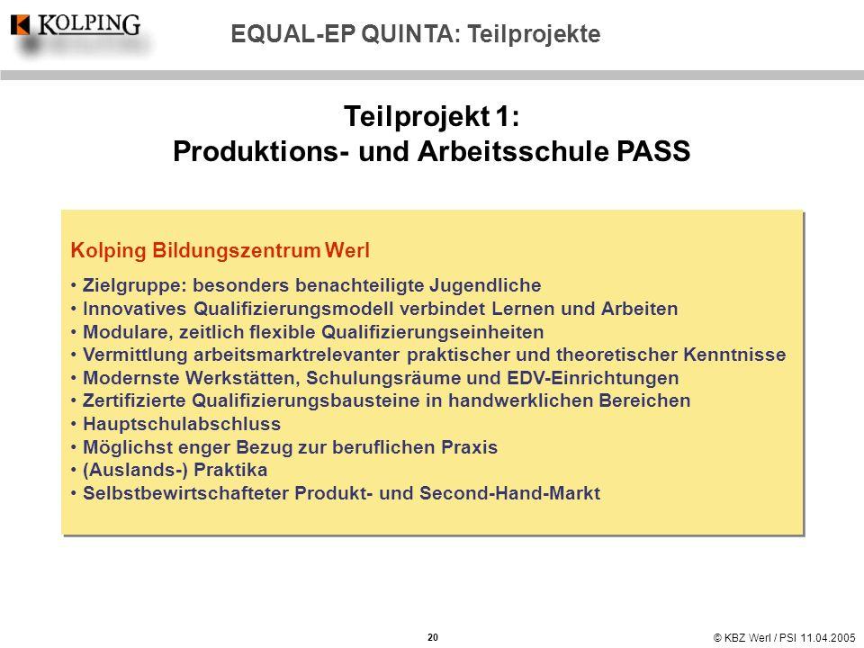 Teilprojekt 1: Produktions- und Arbeitsschule PASS