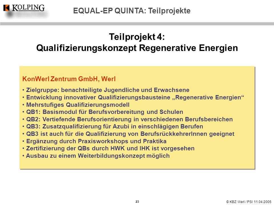 Teilprojekt 4: Qualifizierungskonzept Regenerative Energien