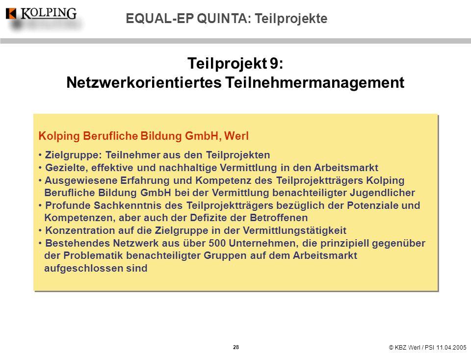 Teilprojekt 9: Netzwerkorientiertes Teilnehmermanagement