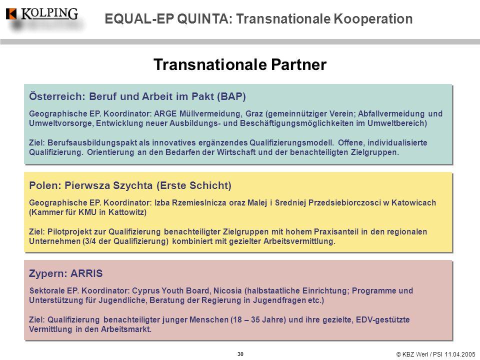 EQUAL-EP QUINTA: Transnationale Kooperation Transnationale Partner