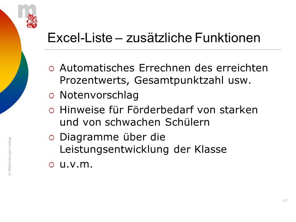 Excel-Liste – zusätzliche Funktionen