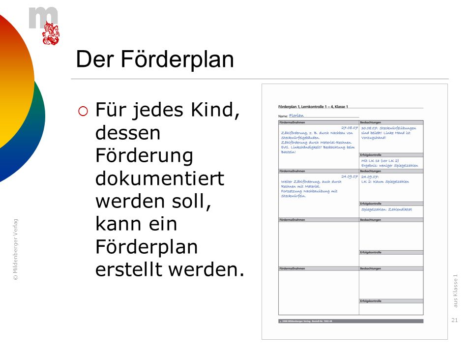 Der Förderplan Für jedes Kind, dessen Förderung dokumentiert werden soll, kann ein Förderplan erstellt werden.