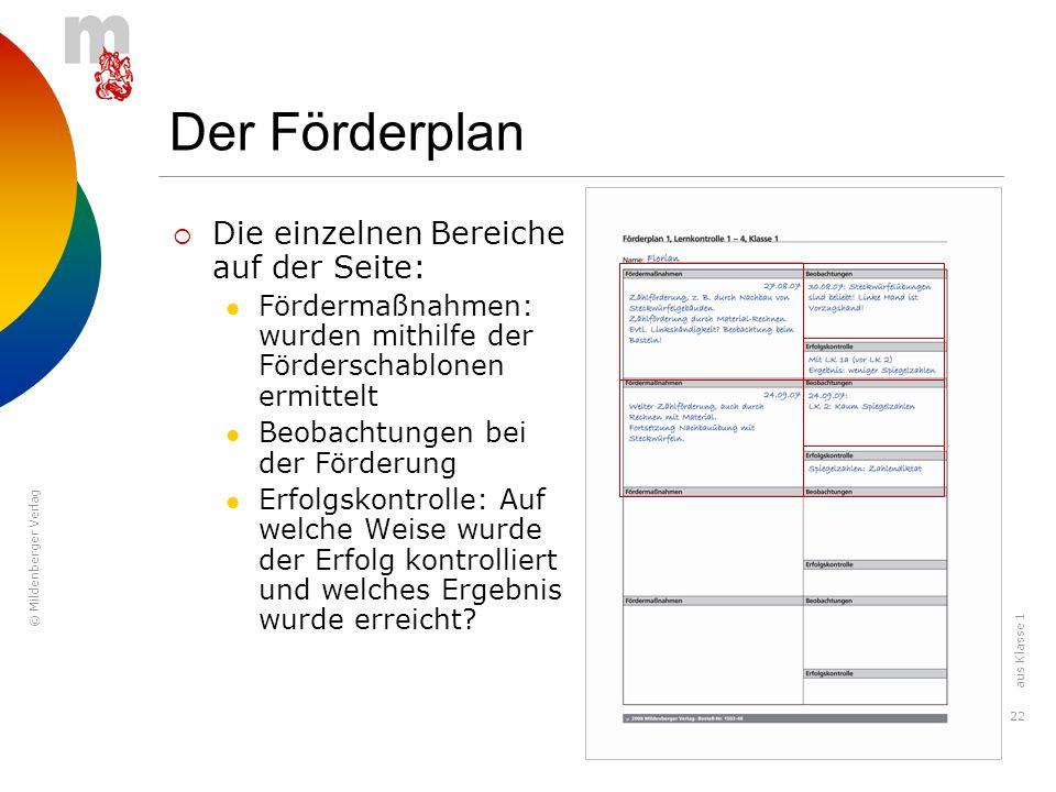 Der Förderplan Die einzelnen Bereiche auf der Seite: