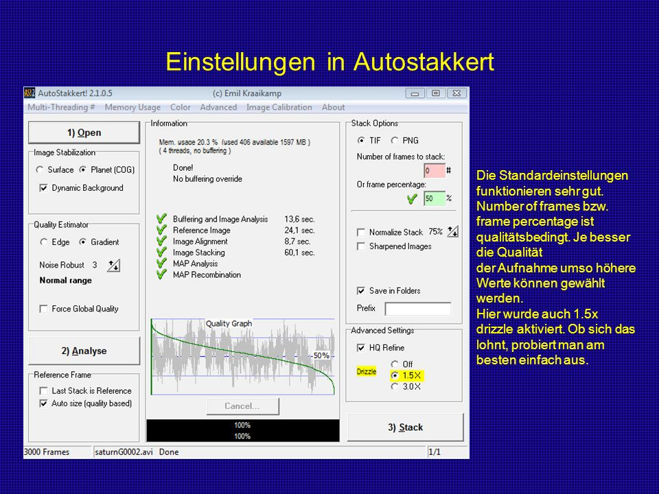 Einstellungen in Autostakkert