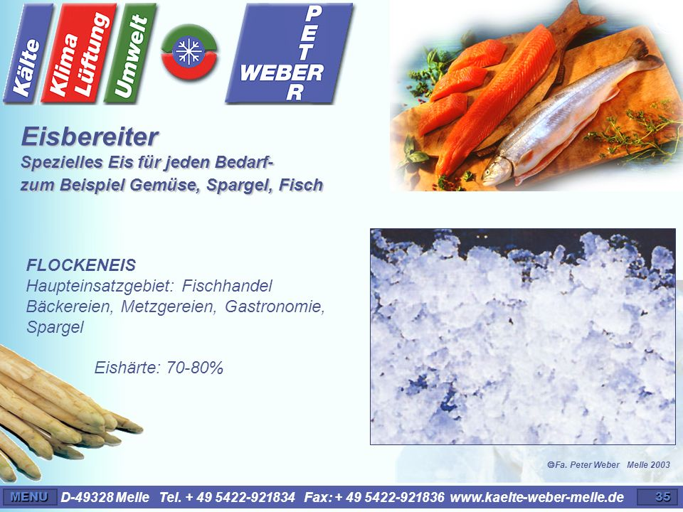 Eisbereiter Spezielles Eis für jeden Bedarf- zum Beispiel Gemüse, Spargel, Fisch