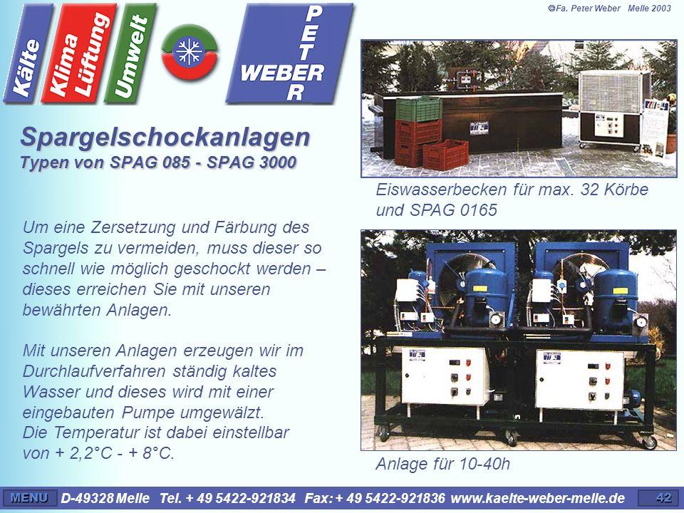 Spargelschockanlagen Typen von SPAG 085 - SPAG 3000