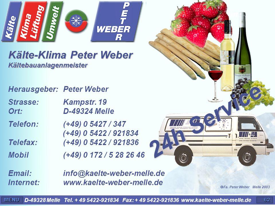 24h Service Kälte-Klima Peter Weber Kältebauanlagenmeister Impressum