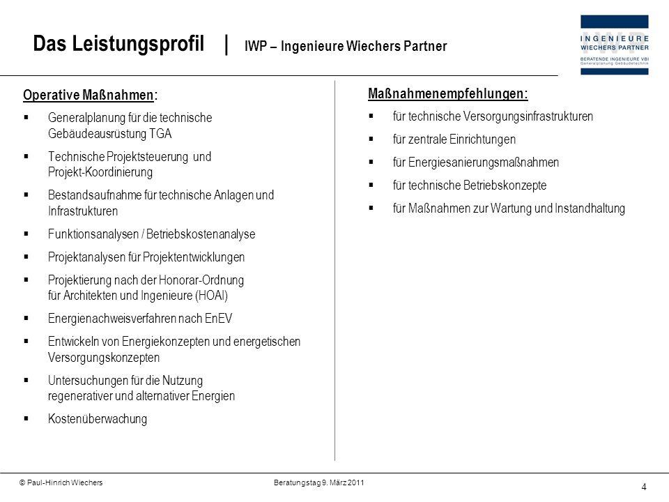 Das Leistungsprofil | IWP – Ingenieure Wiechers Partner