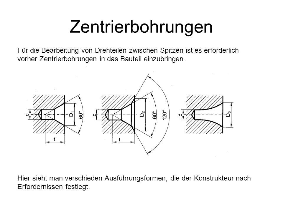 ZentrierbohrungenFür die Bearbeitung von Drehteilen zwischen Spitzen ist es erforderlich vorher Zentrierbohrungen in das Bauteil einzubringen.