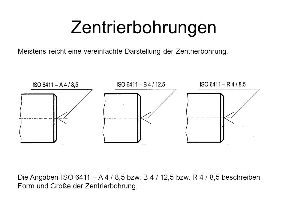 Zentrierbohrungen Meistens reicht eine vereinfachte Darstellung der Zentrierbohrung.