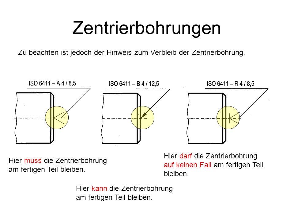 Zentrierbohrungen Zu beachten ist jedoch der Hinweis zum Verbleib der Zentrierbohrung.