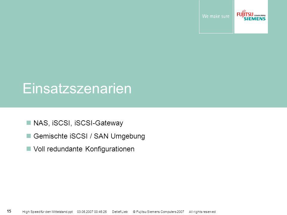 Einsatzszenarien NAS, iSCSI, iSCSI-Gateway
