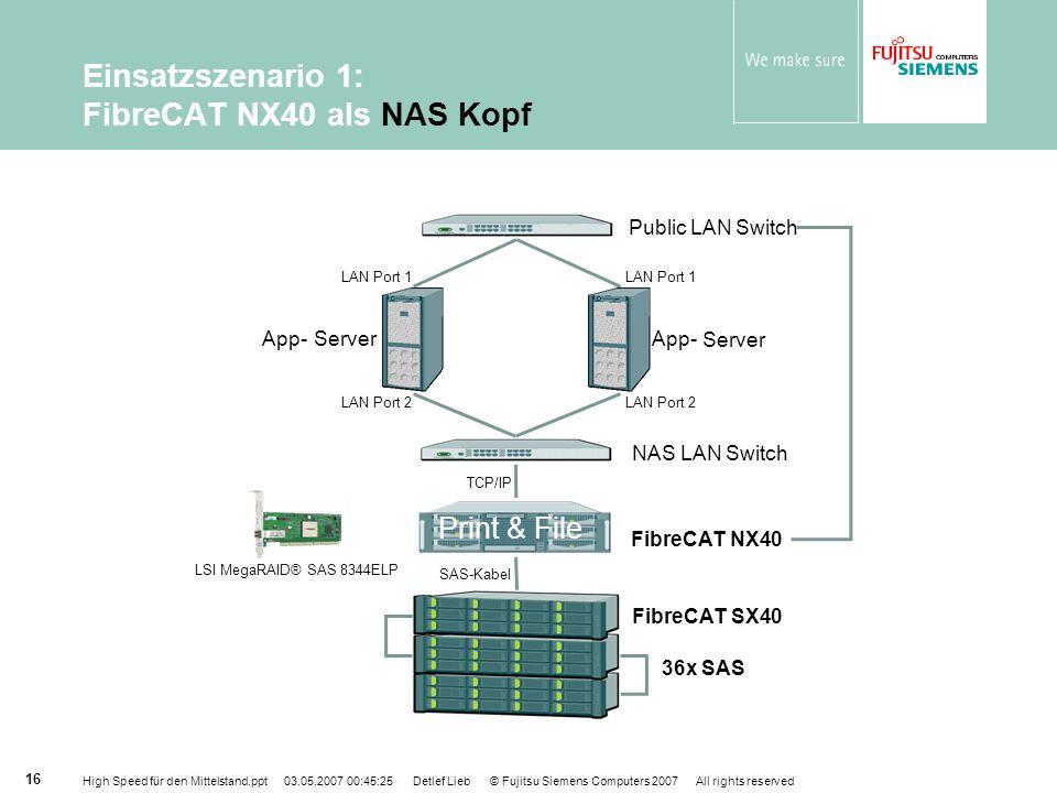 Einsatzszenario 1: FibreCAT NX40 als NAS Kopf