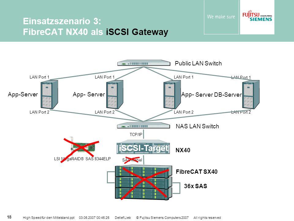 Einsatzszenario 3: FibreCAT NX40 als iSCSI Gateway