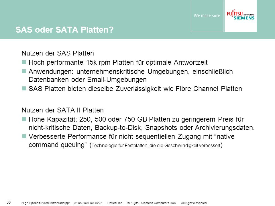 SAS oder SATA Platten Nutzen der SAS Platten
