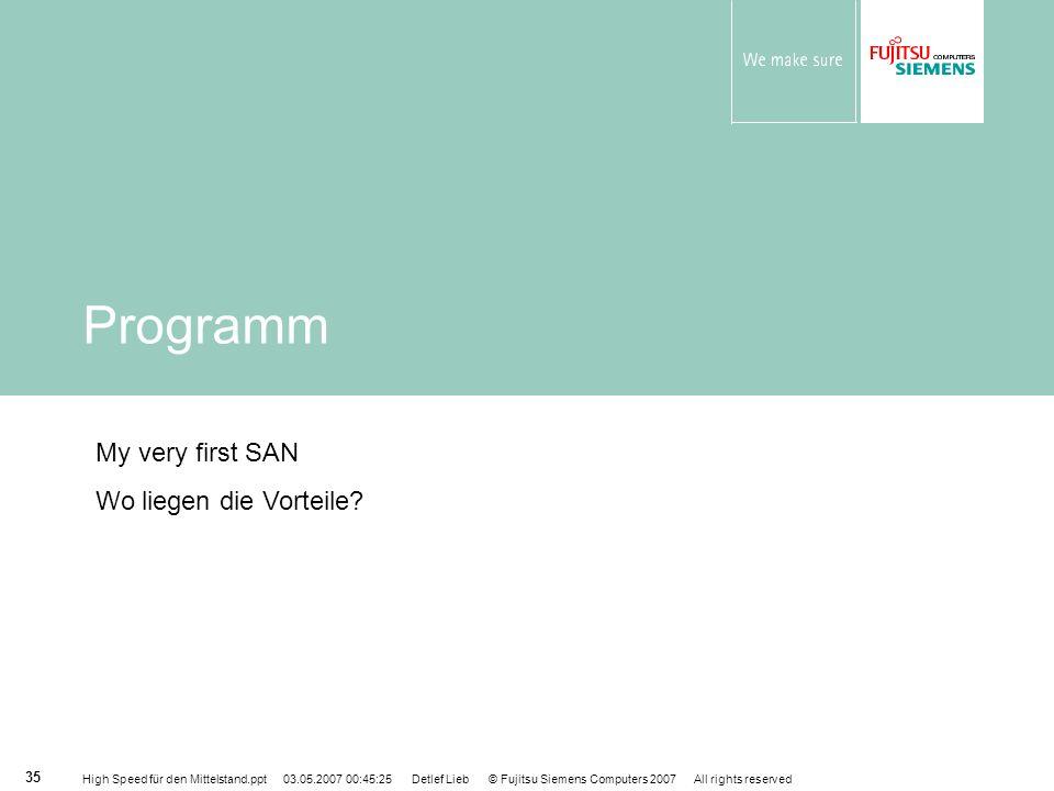 Programm My very first SAN Wo liegen die Vorteile