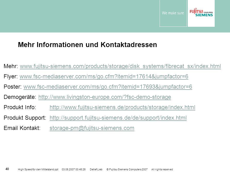 Mehr Informationen und Kontaktadressen
