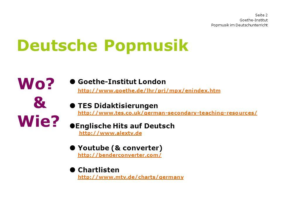 Deutsche Popmusik Wo & Wie