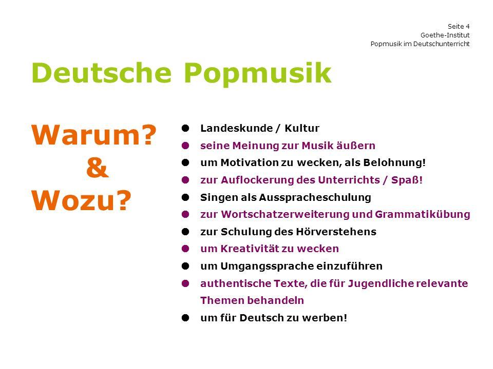 Deutsche Popmusik Warum & Wozu  Landeskunde / Kultur
