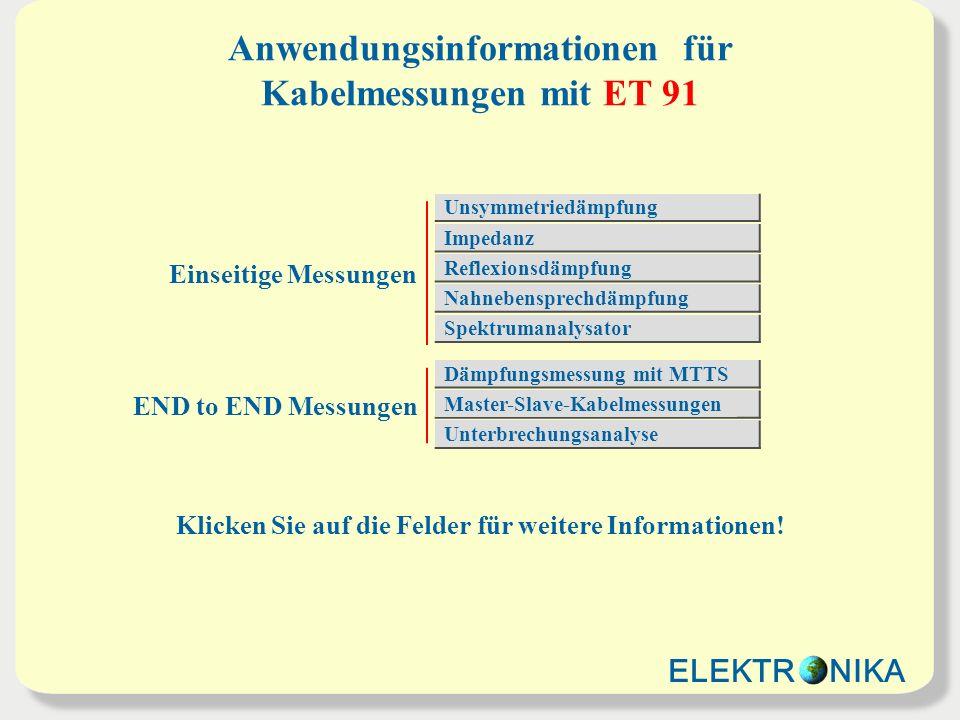 Anwendungsinformationen für Kabelmessungen mit ET 91