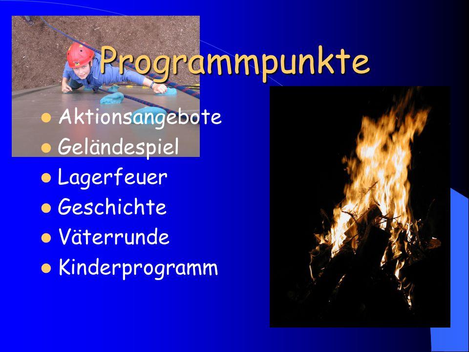 Programmpunkte Aktionsangebote Geländespiel Lagerfeuer Geschichte