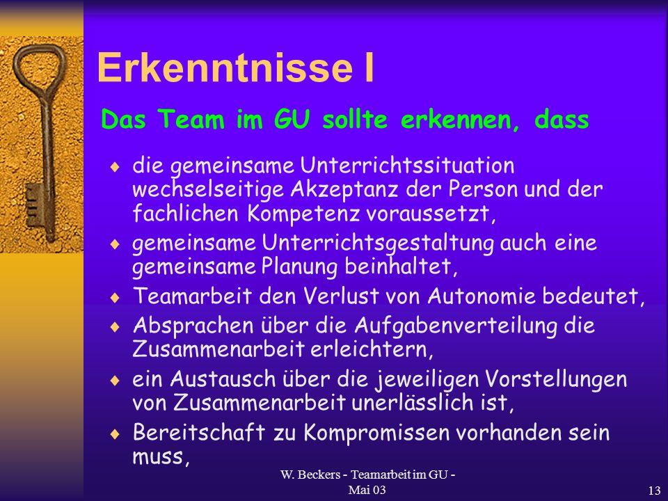 W. Beckers - Teamarbeit im GU - Mai 03