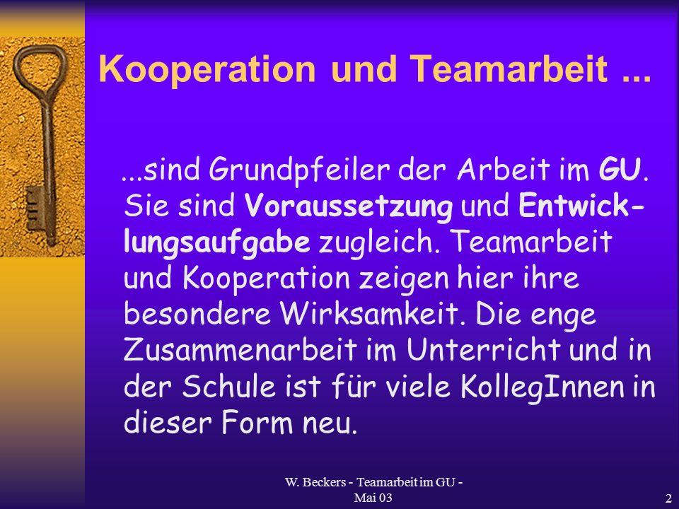 Kooperation und Teamarbeit ...