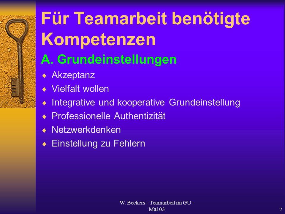 Für Teamarbeit benötigte Kompetenzen