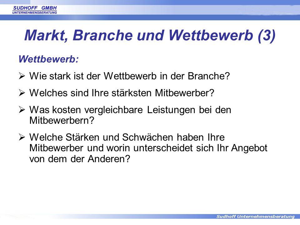 Markt, Branche und Wettbewerb (3)
