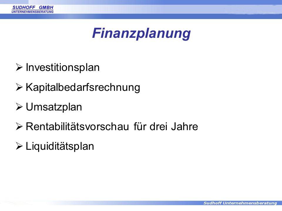 Finanzplanung Investitionsplan Kapitalbedarfsrechnung Umsatzplan