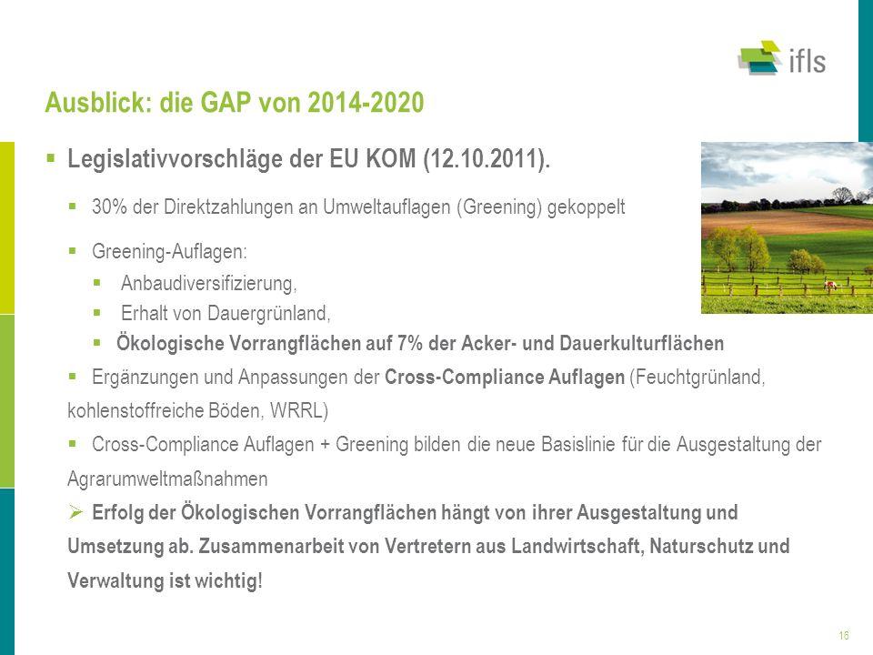 Ausblick: die GAP von 2014-2020 Legislativvorschläge der EU KOM (12.10.2011). 30% der Direktzahlungen an Umweltauflagen (Greening) gekoppelt.