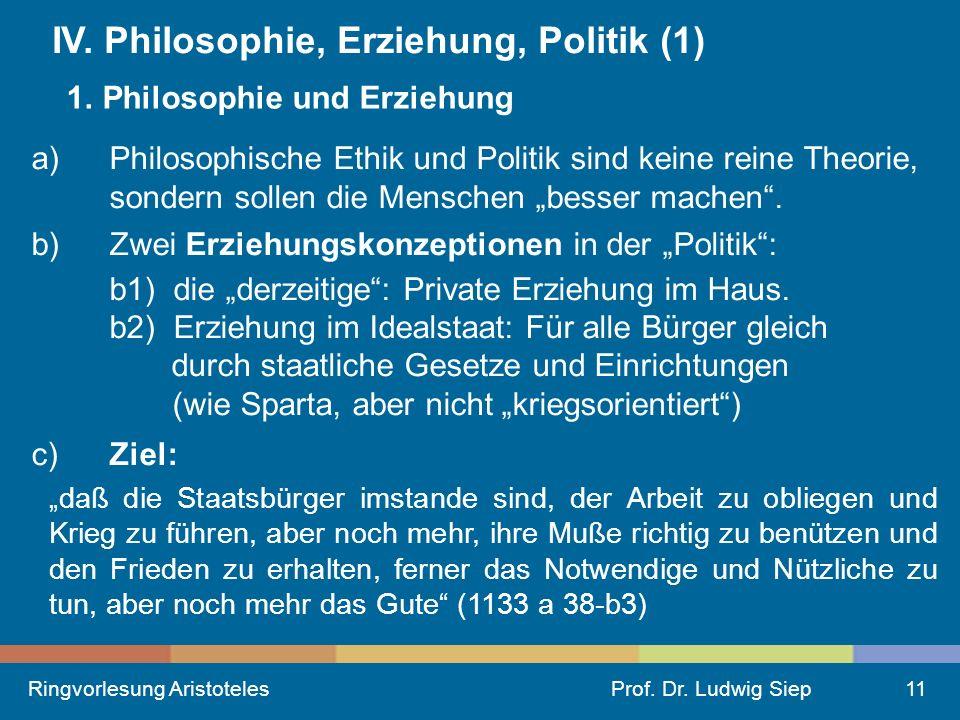 IV. Philosophie, Erziehung, Politik (1)