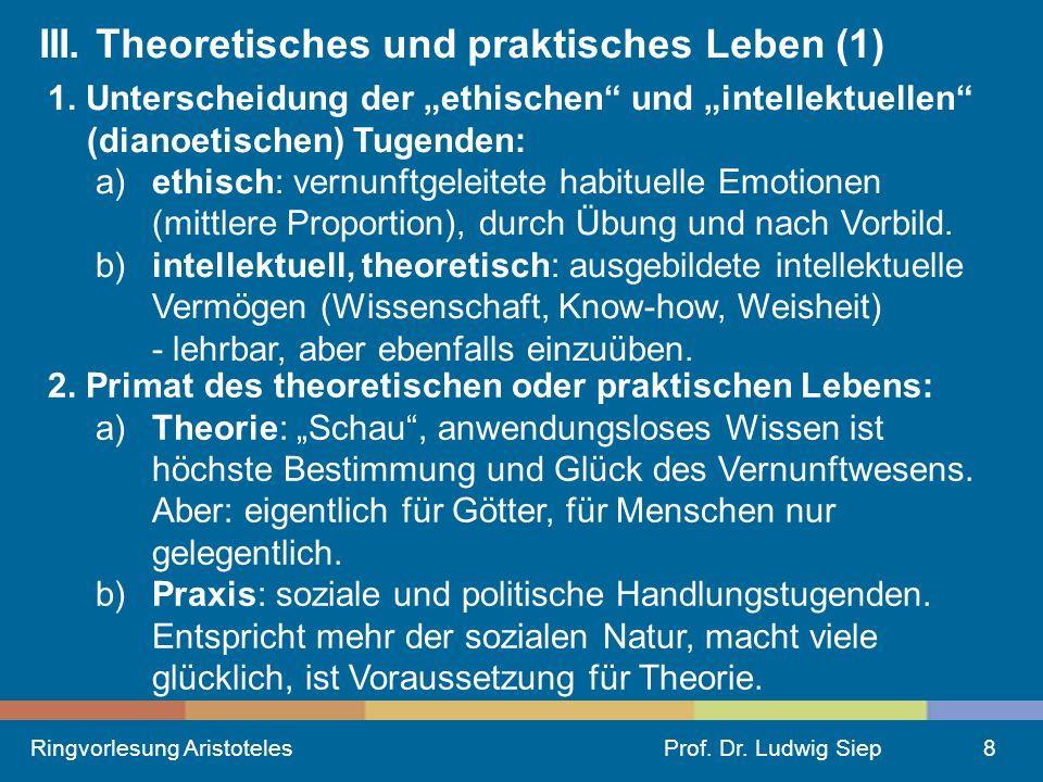 III. Theoretisches und praktisches Leben (1)