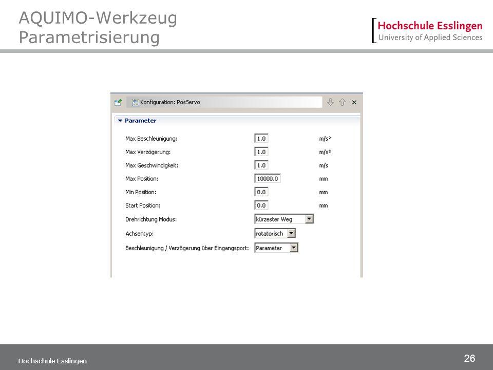 AQUIMO-Werkzeug Parametrisierung