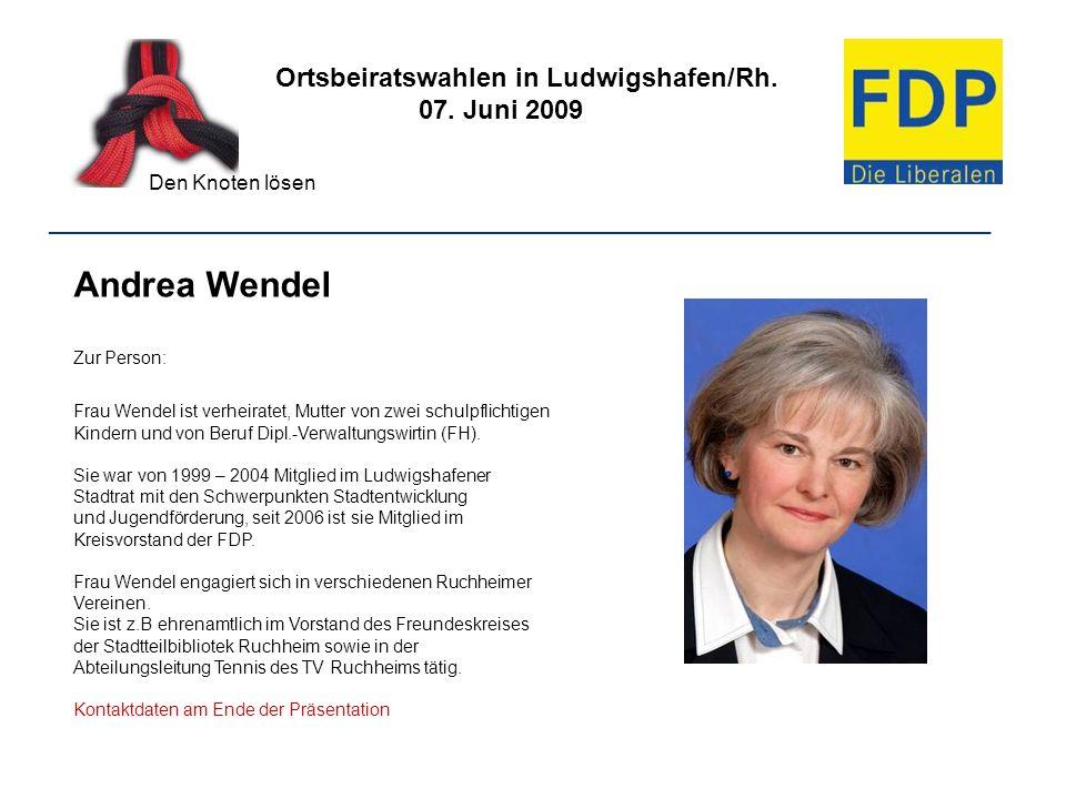 Andrea Wendel Ortsbeiratswahlen in Ludwigshafen/Rh. 07. Juni 2009