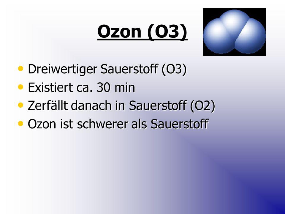 Ozon (O3) Dreiwertiger Sauerstoff (O3) Existiert ca. 30 min
