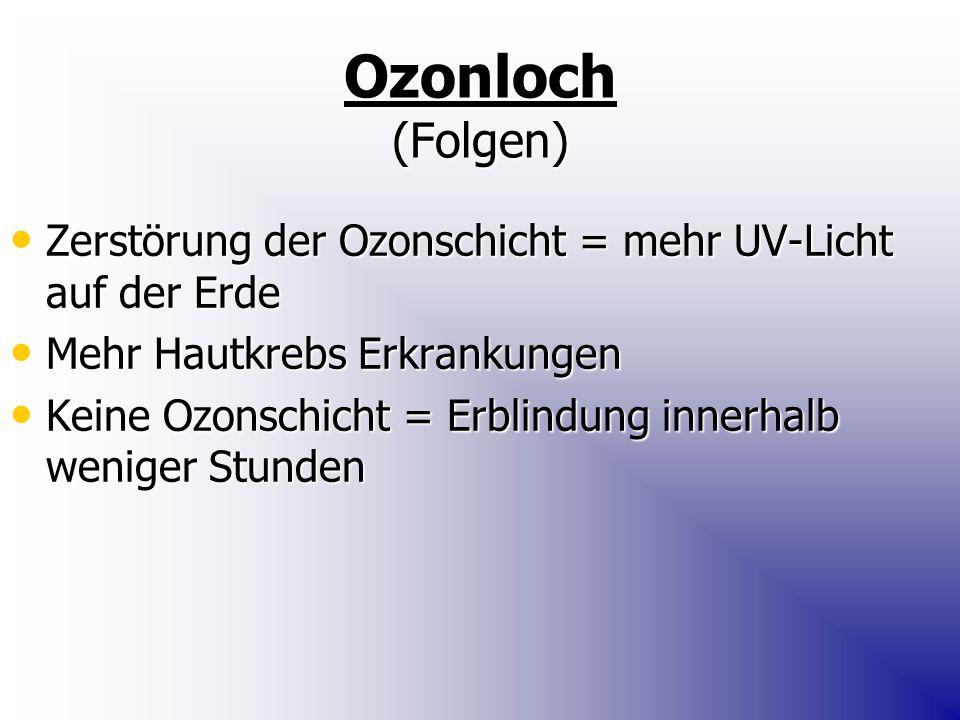 Ozonloch (Folgen) Zerstörung der Ozonschicht = mehr UV-Licht auf der Erde. Mehr Hautkrebs Erkrankungen.
