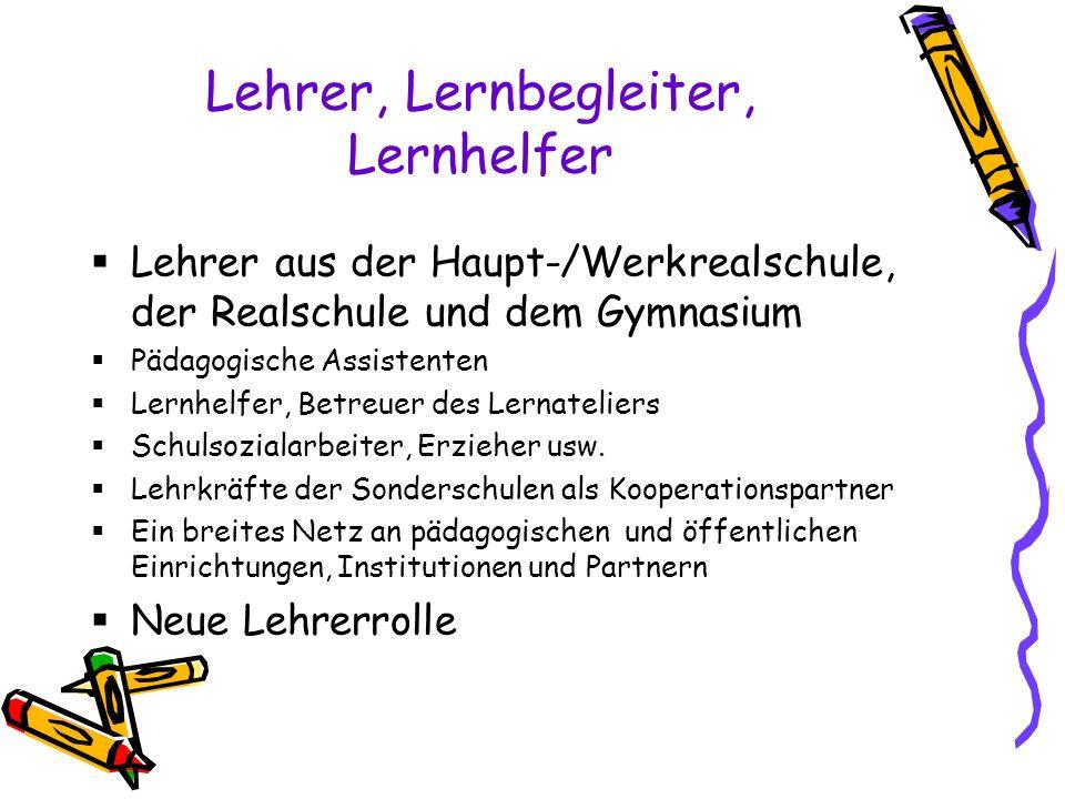 Lehrer, Lernbegleiter, Lernhelfer