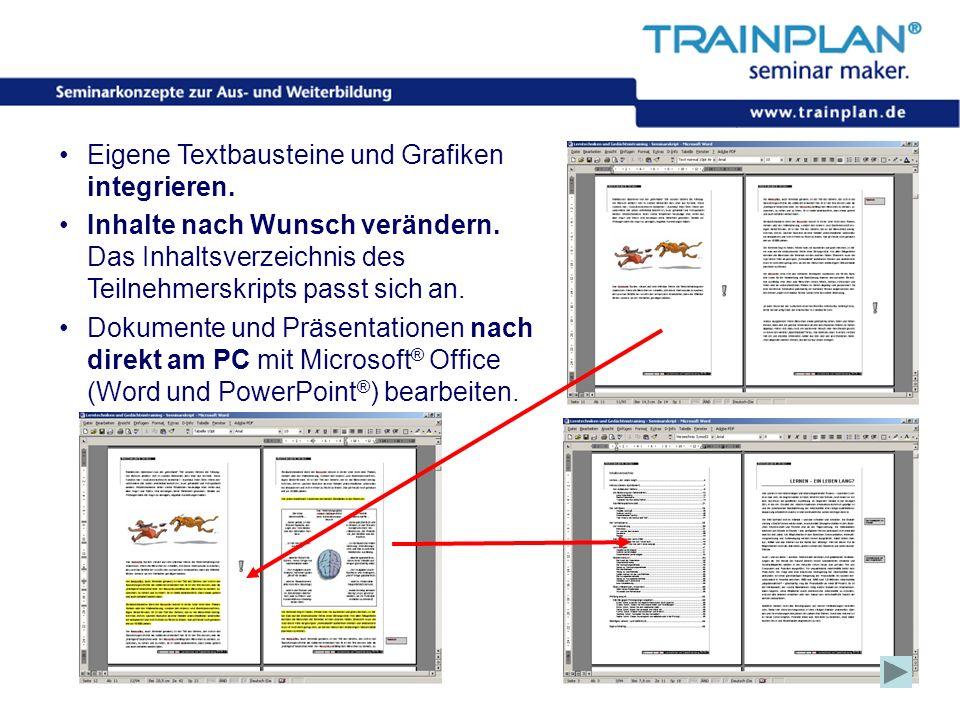 Eigene Textbausteine und Grafiken integrieren.