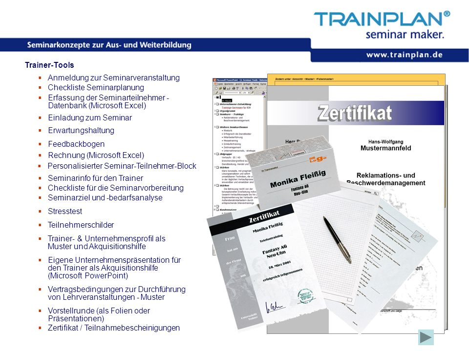 Anmeldung zur Seminarveranstaltung Checkliste Seminarplanung