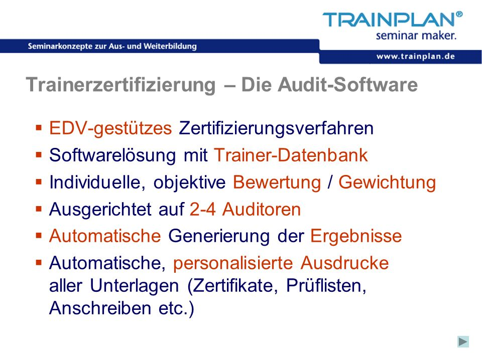 Trainerzertifizierung – Die Audit-Software