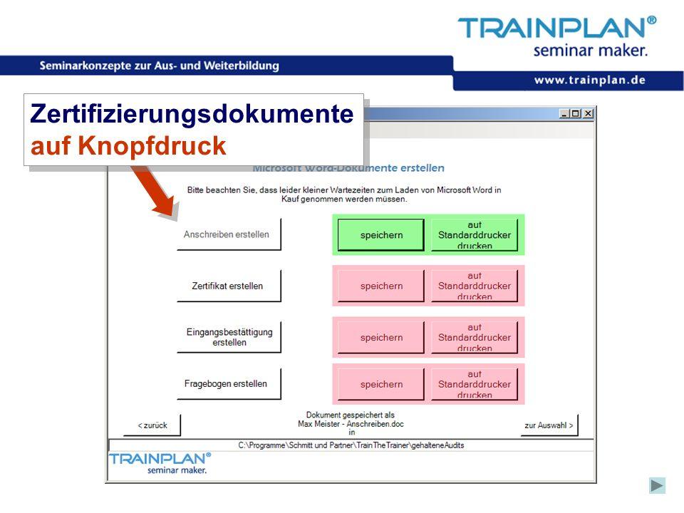 Zertifizierungsdokumente auf Knopfdruck